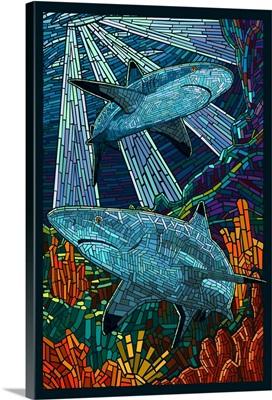 Black Tip Reef Shark - Paper Mosaic: Retro Poster Art