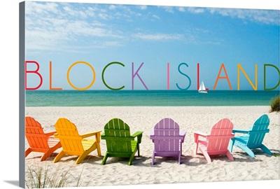 Block Island, Rhode Island, Colorful Beach Chairs