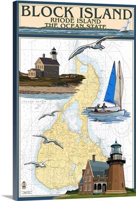 Block Island, Rhode Island - Nautical Chart: Retro Travel Poster