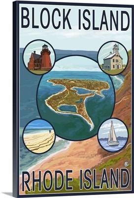 Block Island, Rhode Island: Retro Travel Poster