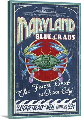 Blue Crabs Vintage Sign - Ocean City, Maryland: Retro Travel Poster