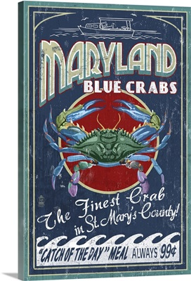 Blue Crabs Vintage Sign - St Mary's County, Maryland: Retro Travel Poster