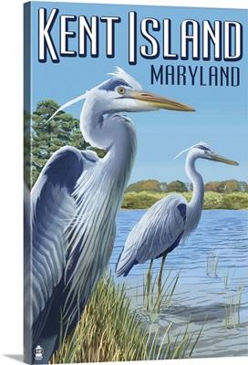 Blue Heron - Kent Island, Maryland: Retro Travel Poster