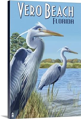 Blue Heron - Vero Beach, Florida: Retro Travel Poster