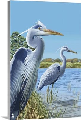Blue Herons (East Coast): Retro Poster Art