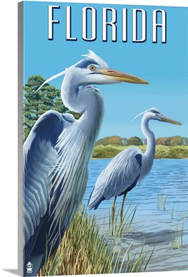Blue Herons in grass - Florida: Retro Travel Poster