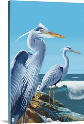 Blue Herons (West Coast): Retro Poster