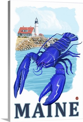 Blue Lobster and Portland Lighthouse - Maine: Retro Travel Poster