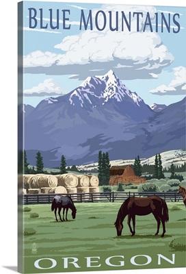 Blue Mountains Scene - Oregon: Retro Travel Poster