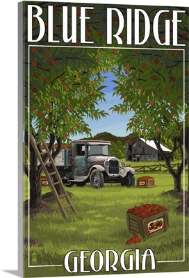 Blue Ridge, Georgia - Apple Harvest: Retro Travel Poster
