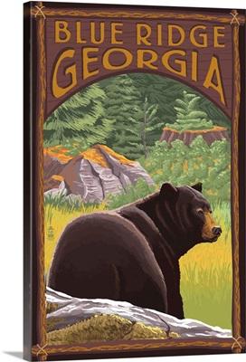 Blue Ridge, Georgia - Bear in Forest: Retro Travel Poster