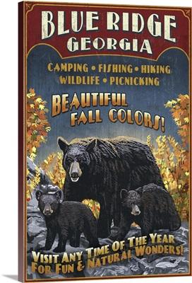 Blue Ridge, Georgia - Black Bear Family Vintage Sign: Retro Travel Poster