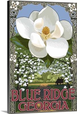 Blue Ridge, Georgia - Magnolia: Retro Travel Poster