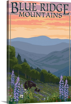Blue Ridge Mountains - Bear Family and Spring Flowers Retro Travel Poster