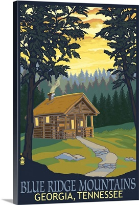 Blue Ridge Mountains - Cabin in Woods: Retro Travel Poster