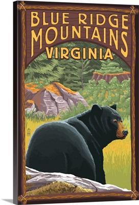 Blue Ridge Mountains, Virginia - Bear in Forest: Retro Travel Poster