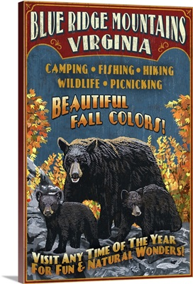 Blue Ridge Mountains, Virginia - Black Bear Family Vintage Sign: Retro Travel Poster