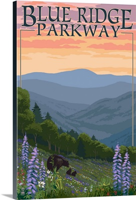 Blue Ridge Parkway - Bear Family and Spring Flowers: Retro Travel Poster
