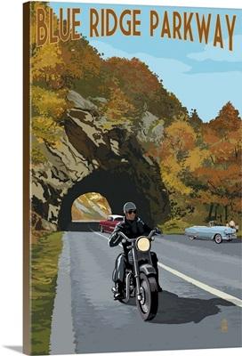 Blue Ridge Parkway - Motorcycle Scene: Retro Travel Poster