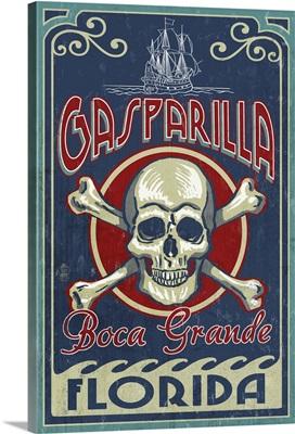 Boca Grande, Florida - Gasparilla Skull and Crossbones: Retro Travel Poster