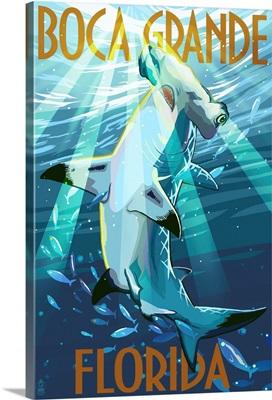 Boca Grande, Florida - Hammerhead Shark: Retro Travel Poster