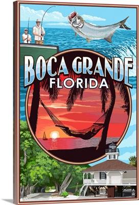 Boca Grande, Florida - Montage: Retro Travel Poster