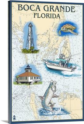 Boca Grande, Florida - Nautical Chart: Retro Travel Poster