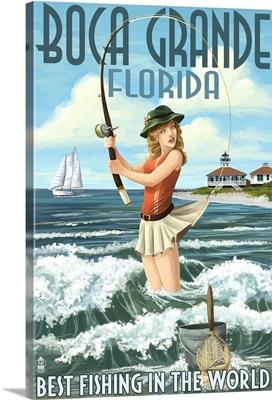 Boca Grande, Florida - Pinup Girl Fishing: Retro Travel Poster