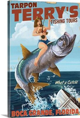 Boca Grande, Florida - Pinup Girl Tarpon Fishing: Retro Travel Poster