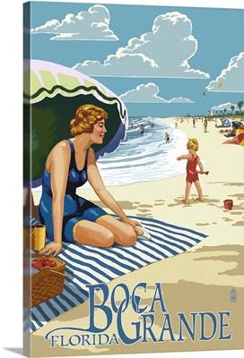 Boca Grande, Florida - Woman and Beach Scene: Retro Travel Poster