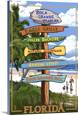 Boca Grande Marina, Florida - Destination Signpost: Retro Travel Poster