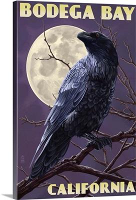 Bodega Bay, California - Raven: Retro Travel Poster