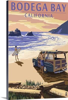Bodega Bay, California - Woody on Beach: Retro Travel Poster