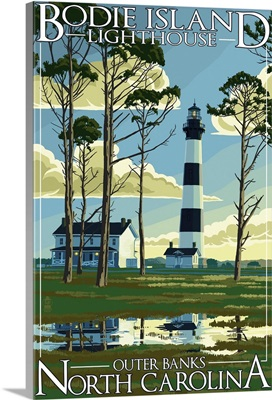 Bodie Island Lighthouse - Outer Banks, North Carolina: Retro Travel Poster