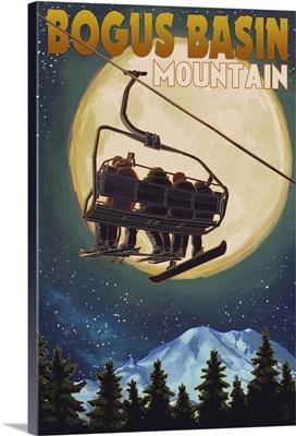 Bogus Basin, Idaho - Ski Lift and Full Moon w/ Snowboarder: Retro Travel Poster