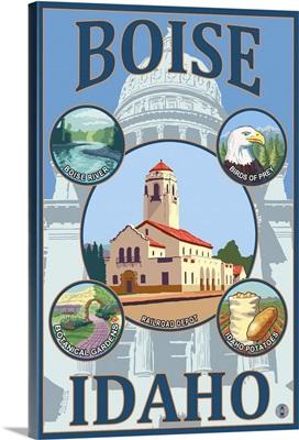 Boise, Idaho: Retro Travel Poster