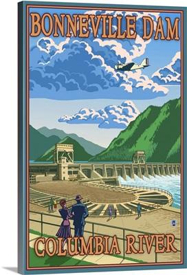 Bonneville Dam: Retro Travel Poster