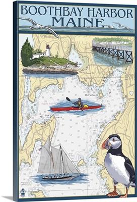 Boothbay Harbor, Maine - Nautical Chart: Retro Travel Poster