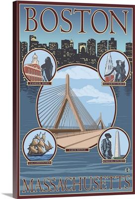Boston, MA Views: Retro Travel Poster