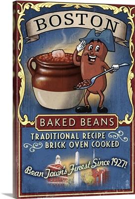 Boston, Massachusetts - Baked Beans Vintage Sign: Retro Travel Poster