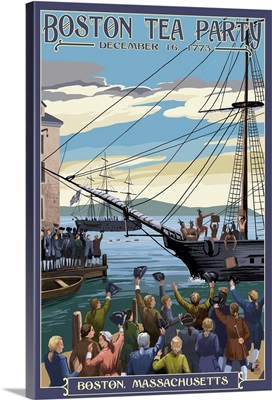 Boston, Massachusetts - Boston Tea Party Scene: Retro Travel Poster