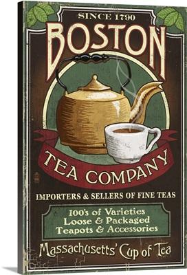 Boston, Massachusetts - Boston Tea Vintage Sign: Retro Travel Poster