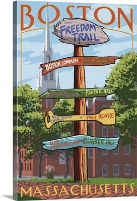 Boston, Massachusetts - Freedom Trail Sign Destinations: Retro Travel Poster