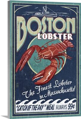 Boston, Massachusetts - Lobster Vintage Sign: Retro Travel Poster