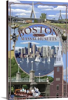 Boston, Massachusetts - Montage: Retro Travel Poster