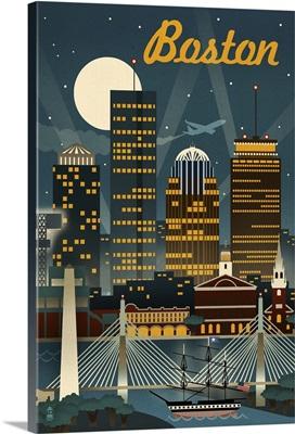 Boston, Massachusetts, Retro Skyline