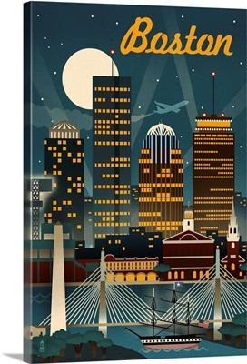 Boston, Massachusetts - Retro Skyline: Retro Travel Poster