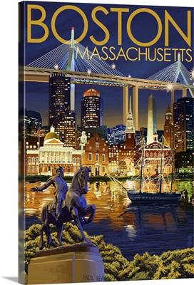 Boston, Massachusetts - Skyline at Night: Retro Travel Poster
