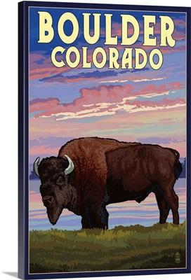 Boulder, Colorado - Bison and Sunset: Retro Travel Poster