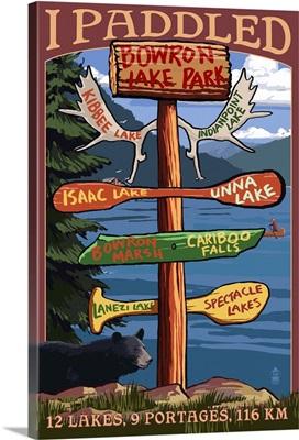 Bowron Lake Park, BC - Sign Destinations: Retro Travel Poster